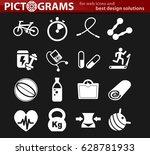 fitness vector icons for user... | Shutterstock .eps vector #628781933
