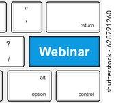 webinar button on keyboard....   Shutterstock .eps vector #628791260