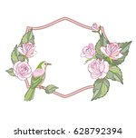 greeting card frame with pink... | Shutterstock .eps vector #628792394