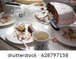 table with empty plates and... | Shutterstock . vector #628797158