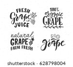 hand sketched grape lettering... | Shutterstock .eps vector #628798004