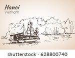halong bay boats. vietnam.... | Shutterstock .eps vector #628800740