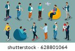 trendy isometric vector people  ... | Shutterstock .eps vector #628801064