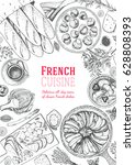 french cuisine top view ... | Shutterstock .eps vector #628808393