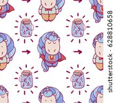 cute seamless pattern with...   Shutterstock .eps vector #628810658