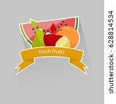 fresh fruit  sticker. vector... | Shutterstock .eps vector #628814534