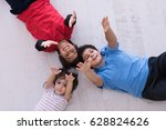 happy young boys having fun on... | Shutterstock . vector #628824626