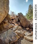 Small photo of Spring Hiking Trail at Eldorado Canyon State Park in Colorado #13 - HDR of a large boulder with rock stairs