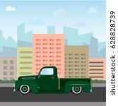 vintage color car on city... | Shutterstock .eps vector #628828739