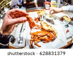 lobster served in english pub | Shutterstock . vector #628831379