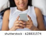 Close Up Of Woman Texting Sms...
