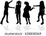 vector silhouette of children...   Shutterstock .eps vector #628838369