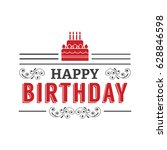 vintage card with happy... | Shutterstock .eps vector #628846598