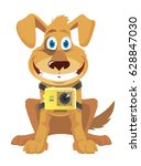 funny cartoon puppy with action ... | Shutterstock .eps vector #628847030