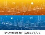 infrastructure panorama. large... | Shutterstock .eps vector #628864778