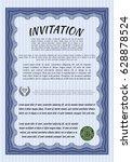 blue formal invitation. elegant ... | Shutterstock .eps vector #628878524