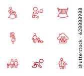 set of 9 people outline icons... | Shutterstock .eps vector #628888988
