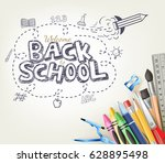 back to school doodle concept... | Shutterstock .eps vector #628895498