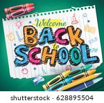 back to school doodle written... | Shutterstock .eps vector #628895504