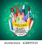 back to school text and... | Shutterstock .eps vector #628895510