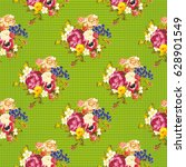 seamless floral pattern with... | Shutterstock .eps vector #628901549