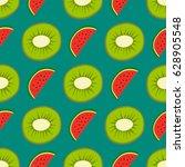 cartoon fresh kiwi fruits in... | Shutterstock .eps vector #628905548