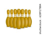 bowling pins in brown design...   Shutterstock .eps vector #628917884