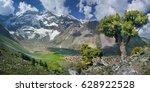 tourism in tajikistan  valley... | Shutterstock . vector #628922528