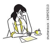 character of businesswoman ... | Shutterstock .eps vector #628925213