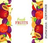 apple plum vertical seamless... | Shutterstock .eps vector #628934408