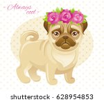 summer fashion pug  french... | Shutterstock .eps vector #628954853