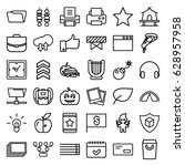 thin icons set. set of 36 thin... | Shutterstock .eps vector #628957958