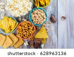 assortment of unhealthy snacks. ...   Shutterstock . vector #628963136