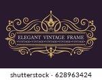 gold decorative frame. vector... | Shutterstock .eps vector #628963424