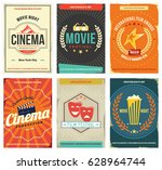retro cinema posters set.... | Shutterstock .eps vector #628964744