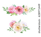 beautiful floral hand drawn... | Shutterstock . vector #628971449