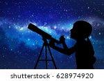 silhouette of little girl...   Shutterstock . vector #628974920