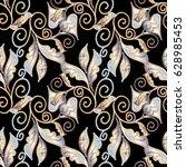 paisley hand drawn seamless... | Shutterstock .eps vector #628985453