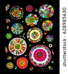 floral set  sketch for your... | Shutterstock .eps vector #628985630