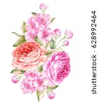 bouquet of spring flowers.... | Shutterstock . vector #628992464