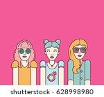 three beautiful women on pink...   Shutterstock . vector #628998980