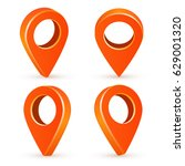 set orange map pointers. map... | Shutterstock .eps vector #629001320