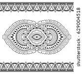 set of seamless borders for...   Shutterstock .eps vector #629004518