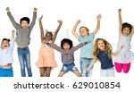 diverse group of kids jumping... | Shutterstock . vector #629010854
