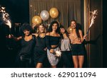 shot of group of girls... | Shutterstock . vector #629011094