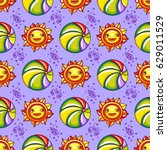 vector summer pattern. seamless ... | Shutterstock .eps vector #629011529