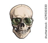 hand drawn human skull wearing... | Shutterstock .eps vector #629030330