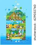 ecology island. eco concept.... | Shutterstock .eps vector #629032760