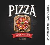 pizzeria logo template. vector... | Shutterstock .eps vector #629043068