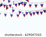 slovenia flag festive bunting... | Shutterstock . vector #629047310